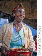 Baptism, celebration of a birth. Hawzen town, Eastern Tigray, Ethiopia... (2020 год). Редакционное фото, фотограф Sergi Reboredo / age Fotostock / Фотобанк Лори
