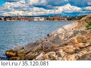 Oslo, Ostlandet / Norway - 2019/09/02: Panoramic view of metropolitan... Редакционное фото, фотограф bialorucki bernard / age Fotostock / Фотобанк Лори