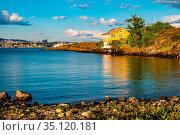 Oslo, Ostlandet / Norway - 2019/09/02: Panoramic view of Nakholmen... Редакционное фото, фотограф bialorucki bernard / age Fotostock / Фотобанк Лори