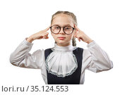 Cute Schoolgirl In Glasses Guess Gesture Isolated. Стоковое фото, фотограф Иван Карпов / Фотобанк Лори