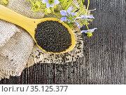 Семена черного тмина в ложке на доске сверху. Стоковое фото, фотограф Резеда Костылева / Фотобанк Лори