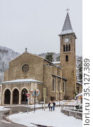 Saint Vincent church in Ax-les-Thermes - France, Midi-Pyrenees. Редакционное фото, фотограф Николай Коржов / Фотобанк Лори