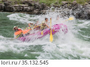 Water spraying people going through Lunch Counter Rapids in paddle raft. Snake River, Jackson Hole Wyoming, USA. July 2006. Стоковое фото, фотограф Jeff Foott / Nature Picture Library / Фотобанк Лори
