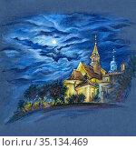Church of Saint Benson at night, Warsaw, Poland. Стоковая иллюстрация, иллюстратор Коваленкова Ольга / Фотобанк Лори