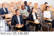 Business people listening to speaker at conference. Стоковое фото, фотограф Яков Филимонов / Фотобанк Лори