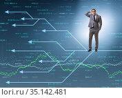 Businessman thinking of different career paths. Стоковое фото, фотограф Elnur / Фотобанк Лори