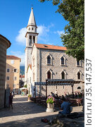 The Church of St. John the Baptist is in old town of Budva city. Montenegro (2016 год). Редакционное фото, фотограф Кекяляйнен Андрей / Фотобанк Лори