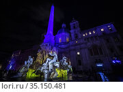 Light show in Piazza Navona, in addition to the static projections... Редакционное фото, фотограф Francesco Fotia / AGF/Francesco Fotia / AGF / age Fotostock / Фотобанк Лори