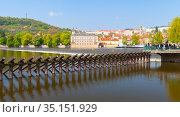 Dam on Vltava river. Prague (2017 год). Редакционное фото, фотограф EugeneSergeev / Фотобанк Лори