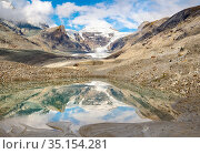 Mount Johannisberg and glacier Pasterze at Mount Grossglockner, which... Стоковое фото, фотограф Martin Zwick / age Fotostock / Фотобанк Лори