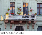 Balcony of historic Schreiner House. Sopron in Transdanubia in the... Стоковое фото, фотограф Martin Zwick / age Fotostock / Фотобанк Лори