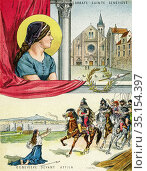 Old color lithography portrait of Saint Genevieve of Paris (422-512... Стоковое фото, фотограф Jerónimo Alba / age Fotostock / Фотобанк Лори