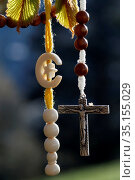 Christianity and Islam 2 monotheistic religions. Christian cross ... Стоковое фото, фотограф Fred de Noyelle / Godong / age Fotostock / Фотобанк Лори