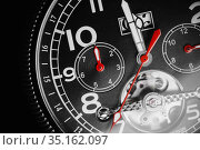 Mechanical luxury wrist watch with red arrows. Стоковое фото, фотограф EugeneSergeev / Фотобанк Лори