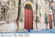 La Merced Church dating from 1534 in the colonial city of Granada, Nicaragua, Central America. Редакционное фото, фотограф Николай Коржов / Фотобанк Лори