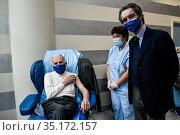 President of Lombardy Region Attilio Fontana (L) with Silvio Garattini... Редакционное фото, фотограф Nicola Marfisi / AGF / Pool/Nicola Marfisi / AGF / / age Fotostock / Фотобанк Лори