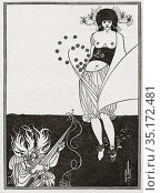 The Stomach Dance. Illustration by Aubrey Beardsley for the English... Редакционное фото, фотограф Classic Vision / age Fotostock / Фотобанк Лори
