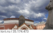 The State Tretyakov Gallery (against the moving clouds)-- is an art gallery in Moscow, Russia, the foremost depository of Russian fine art in the world. Gallery's history starts in 1856. Стоковое видео, видеограф Владимир Журавлев / Фотобанк Лори