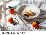 still life with mandarins on plate over drapery. Стоковое фото, фотограф Syda Productions / Фотобанк Лори
