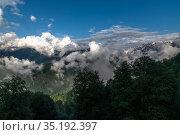 Panorama of the Caucasus mountains with clouds, Russia. Стоковое фото, фотограф Володина Ольга / Фотобанк Лори
