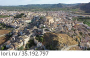 Aerial view of Seehin municipality in Spain, province of Murcia, Noroeste region. Стоковое видео, видеограф Яков Филимонов / Фотобанк Лори
