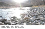 Dolly slider shot of the splashing water in a mountain river near forest. Wet rocks and sun rays. Horizontal steady movement. Raw flat colors. Стоковое видео, видеограф Александр Маркин / Фотобанк Лори