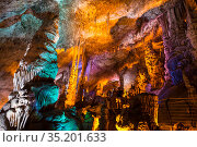 Stalactite cave Sorek in Israel, Beit Shemesh district, Judean mountains (2018 год). Стоковое фото, фотограф Наталья Волкова / Фотобанк Лори