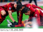 Gianluca Mancini (Roma) celebrates the goal during the match ,Rome... Редакционное фото, фотограф Federico Proietti / Sync / AGF/Federico Proietti / / age Fotostock / Фотобанк Лори
