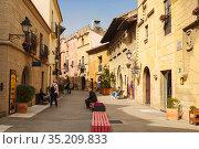 The Spanish village in Barcelona is an open-air Museum. Catalonia, Spain (2018 год). Редакционное фото, фотограф Наталья Волкова / Фотобанк Лори