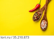 Fragrant spices in spoon and red pepper, top view. Стоковое фото, фотограф Tryapitsyn Sergiy / Фотобанк Лори
