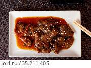 Japanese veal meat braised in wok. Стоковое фото, фотограф Яков Филимонов / Фотобанк Лори