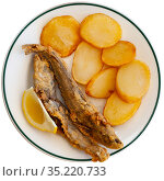 Fried blue whiting fish with potato. Стоковое фото, фотограф Яков Филимонов / Фотобанк Лори