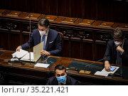 Italian Prime Minister Giuseppe Conte addresses the Lower House of... Редакционное фото, фотограф Alessandro Serrano' / AGF/Alessandro Serrano' / / age Fotostock / Фотобанк Лори