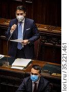 Italian Prime Minister Giuseppe Conte (C standing) addresses the ... Редакционное фото, фотограф Alessandro Serrano' / AGF/Alessandro Serrano' / / age Fotostock / Фотобанк Лори