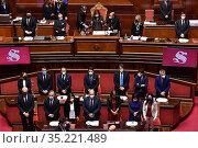 Italian premier Giuseppe Conte during his speech at Senato in Rome... Редакционное фото, фотограф Pool / AGF/Pool / AGF / age Fotostock / Фотобанк Лори