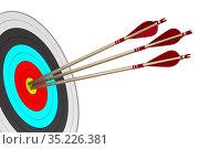 Arrow and target on white background. Isolated 3D illustration. Стоковая иллюстрация, иллюстратор Ильин Сергей / Фотобанк Лори