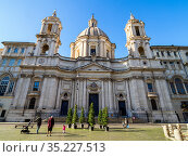 Sant'Agnese in Agone church in Piazza Navona - Rome, Italy. Стоковое фото, фотограф Stefano Ravera / age Fotostock / Фотобанк Лори