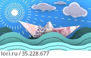 Бумажный кораблик, сделанный из турецкой банкноты, плывет по волнам океана. Стоковая анимация, видеограф WalDeMarus / Фотобанк Лори