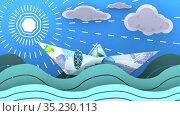Бумажный кораблик, сделанный из казахстанской банкноты, плывет по волнам океана. Стоковая анимация, видеограф WalDeMarus / Фотобанк Лори