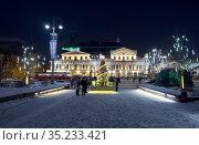 The houses of merchant Korobkov at the night illumination. Yekaterinburg. Russia. Редакционное фото, фотограф Serg Zastavkin / Фотобанк Лори