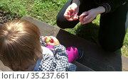 Close up view at mother and child hands playing with plasticine outdoor. Стоковое видео, видеограф Кекяляйнен Андрей / Фотобанк Лори