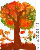 Осеннее дерево, детский рисунок. Редакционная иллюстрация, иллюстратор Мария Кылосова / Фотобанк Лори