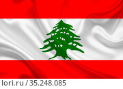 Lebanon country flag on wavy silk fabric background panorama - illustration... Стоковое фото, фотограф Zoonar.com/Evgeny Babaylov / easy Fotostock / Фотобанк Лори