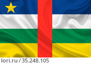 Flag of Central African Republic on wavy silk fabric background panorama... Стоковое фото, фотограф Zoonar.com/Evgeny Babaylov / easy Fotostock / Фотобанк Лори