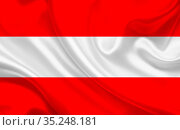 Austria country flag on wavy silk fabric. Стоковое фото, фотограф Zoonar.com/Evgeny Babaylov / easy Fotostock / Фотобанк Лори