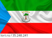 Flag of Equatorial Guinea country on wavy silk fabric background panorama... Стоковое фото, фотограф Zoonar.com/Evgeny Babaylov / easy Fotostock / Фотобанк Лори