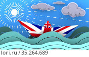 Paper boat made from the UK flag floats on the waves of the ocean. Стоковая анимация, видеограф WalDeMarus / Фотобанк Лори