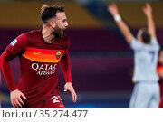 Borja Mayoral (Roma) celebrates after the gol 3-0 during the match... Редакционное фото, фотограф Federico Proietti / Sync / AGF/Federico Proietti / / age Fotostock / Фотобанк Лори