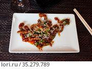 Teriyaki veal with sesame and scallions. Стоковое фото, фотограф Яков Филимонов / Фотобанк Лори