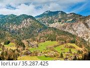 Landscape with mouintains near Petit-Bornand in Haute-Savoie, France. Стоковое фото, фотограф Zoonar.com/Boris Breytman / easy Fotostock / Фотобанк Лори